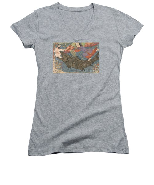 Jonah And The Whale Women's V-Neck T-Shirt (Junior Cut) by Iranian School