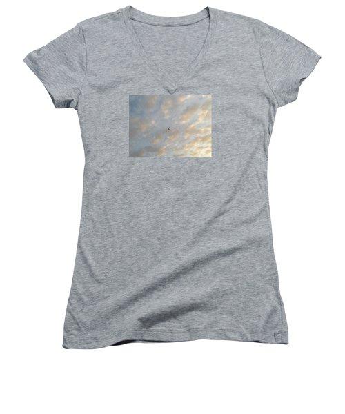 Jonathan Livingston Seagull Women's V-Neck T-Shirt (Junior Cut) by LeeAnn Kendall