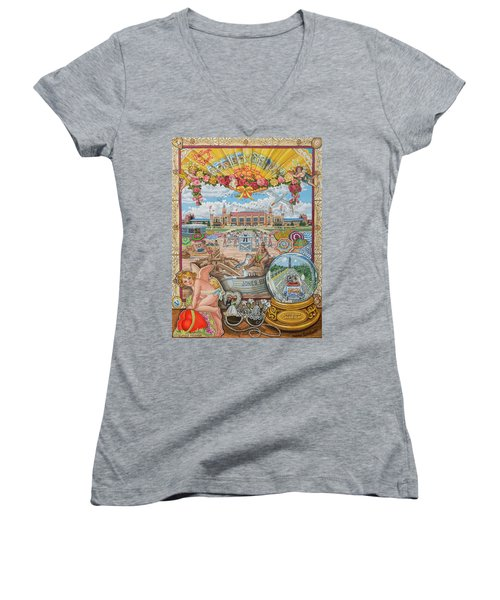 Jones Beach Love Story Women's V-Neck T-Shirt (Junior Cut) by Bonnie Siracusa