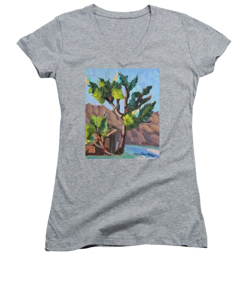Women's V-Neck T-Shirt (Junior Cut) featuring the painting Joshua At Keys Ranch by Diane McClary