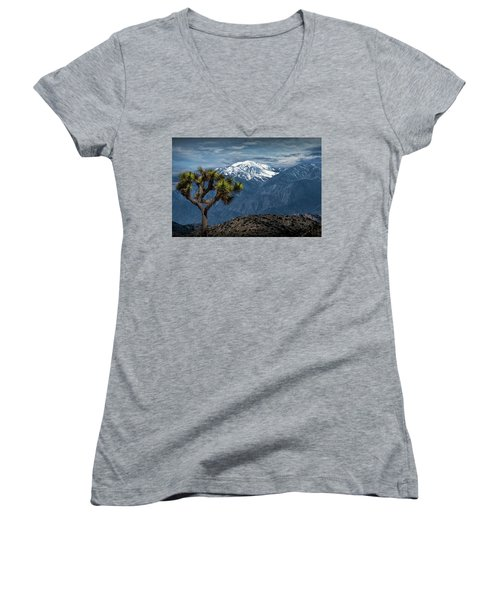 Women's V-Neck T-Shirt (Junior Cut) featuring the photograph Joshua Tree At Keys View In Joshua Park National Park by Randall Nyhof