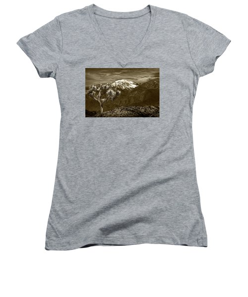 Women's V-Neck T-Shirt (Junior Cut) featuring the photograph Joshua Tree At Keys View In Sepia Tone by Randall Nyhof