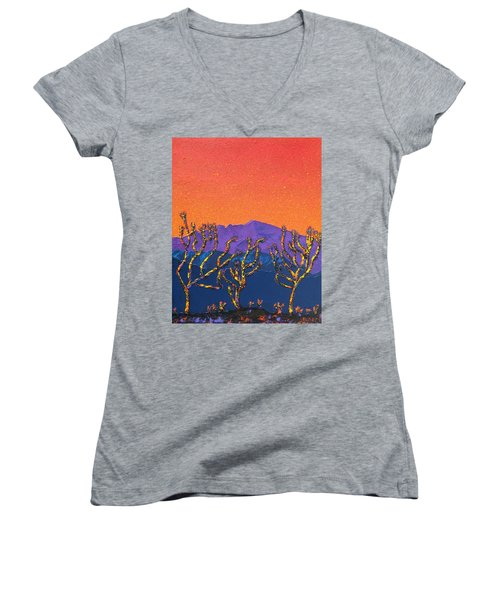 Joshua Trees Women's V-Neck T-Shirt (Junior Cut) by Mayhem Mediums