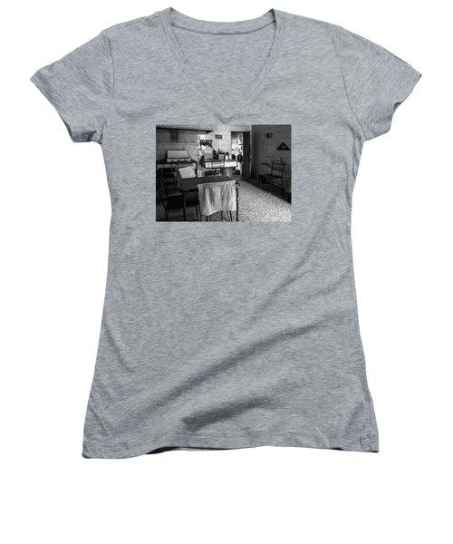 Women's V-Neck T-Shirt (Junior Cut) featuring the photograph Josie's Kitchen Havana Cuba by Joan Carroll