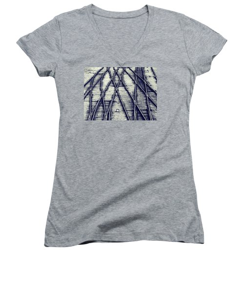 Journey Marks Women's V-Neck T-Shirt (Junior Cut) by Wayne Sherriff