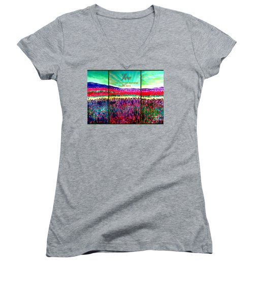 Joy Comes With The Morning Triptych  Women's V-Neck (Athletic Fit)