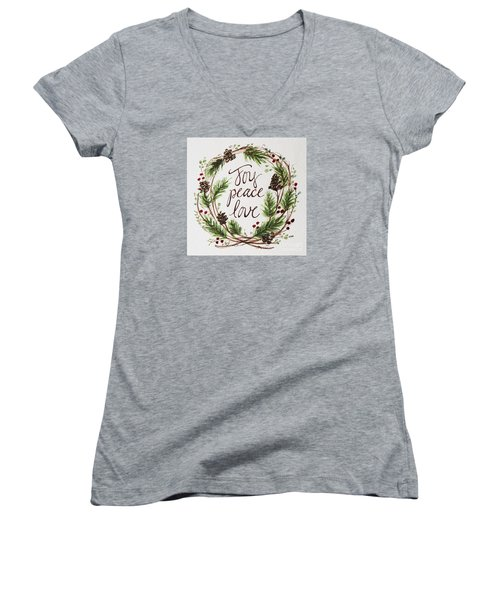 Women's V-Neck T-Shirt (Junior Cut) featuring the painting Joy, Peace, Love by Elizabeth Robinette Tyndall