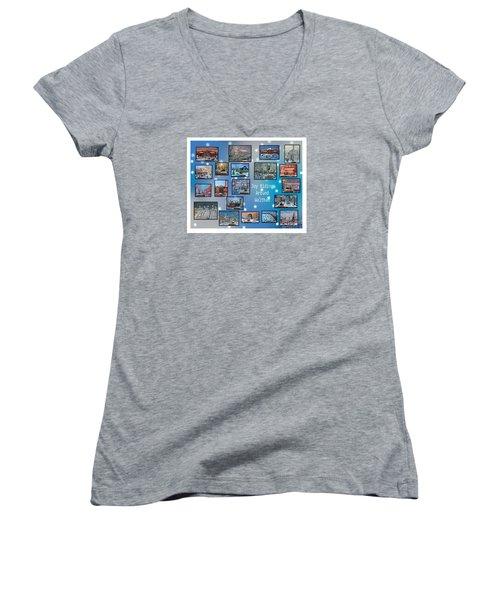 Joy Riding Around Waltham Women's V-Neck T-Shirt (Junior Cut) by Rita Brown