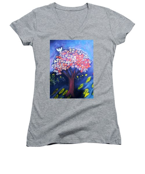 Women's V-Neck T-Shirt (Junior Cut) featuring the painting Joy by Winsome Gunning