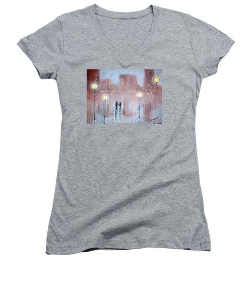 Women's V-Neck T-Shirt (Junior Cut) featuring the painting Joyful Bliss by Raymond Doward
