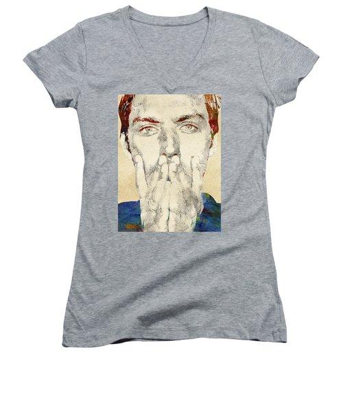 Jude Law Women's V-Neck T-Shirt (Junior Cut) by Mihaela Pater