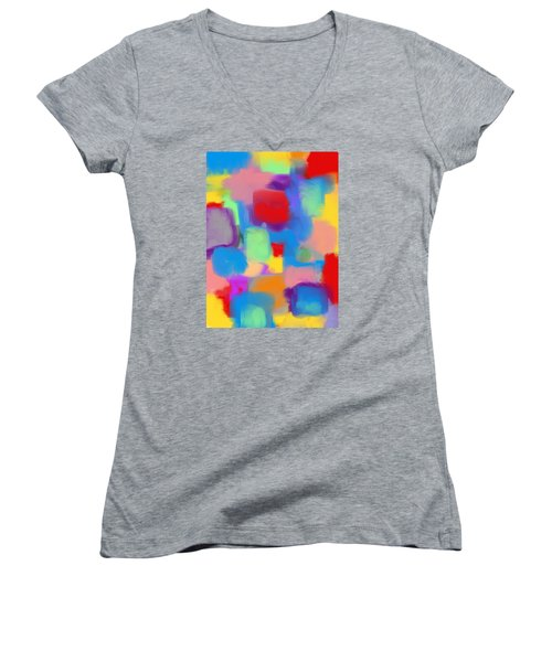 Juicy Shapes And Colors Women's V-Neck T-Shirt (Junior Cut) by Susan Stone