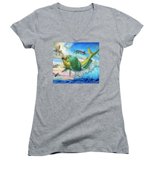 Jumping Mahi Mahi And Flyingfish Women's V-Neck