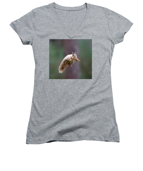 Jumping Red Squirrel Women's V-Neck