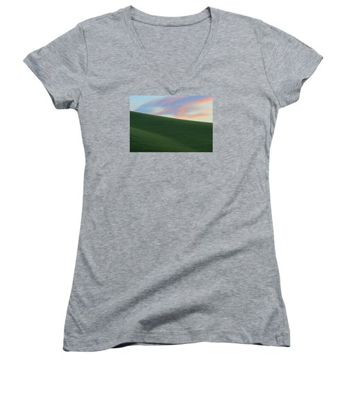 June Palouse Fields And Sky Women's V-Neck (Athletic Fit)