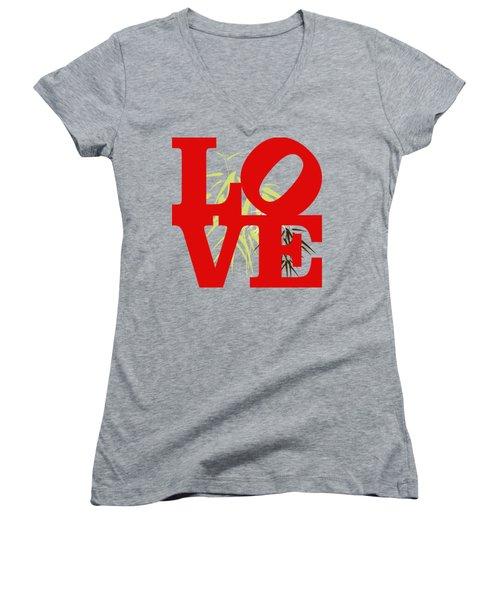 Jungle Love Tee Women's V-Neck T-Shirt (Junior Cut) by Paulette B Wright