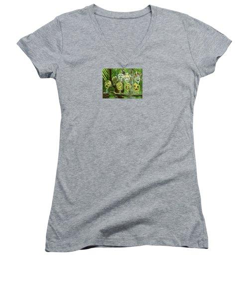 Jungle Spirits Women's V-Neck T-Shirt (Junior Cut) by Jean Pacheco Ravinski