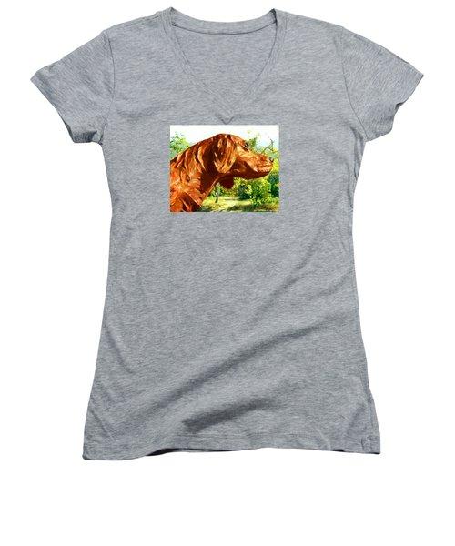 Junior's Hunting Dog Women's V-Neck T-Shirt (Junior Cut) by Timothy Bulone