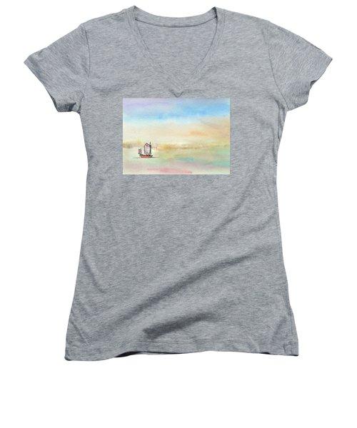 Junk Sailing Women's V-Neck T-Shirt (Junior Cut) by R Kyllo