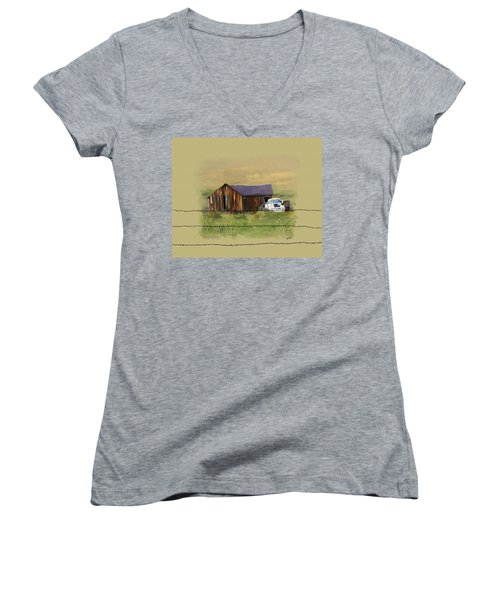 Women's V-Neck T-Shirt (Junior Cut) featuring the painting Junk Truck by Susan Kinney