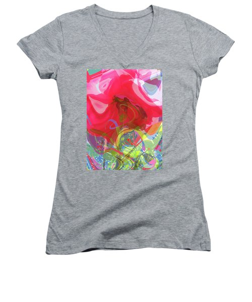 Just A Wild And Crazy Rose - Floral Abstract Women's V-Neck T-Shirt