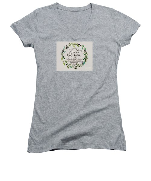 Just Be You Women's V-Neck T-Shirt (Junior Cut) by Elizabeth Robinette Tyndall
