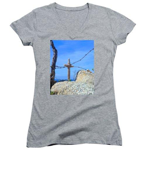 Just Beyond Women's V-Neck T-Shirt (Junior Cut) by Barbie Corbett-Newmin