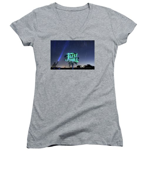 Just Chill Women's V-Neck T-Shirt (Junior Cut) by Andrew Nourse