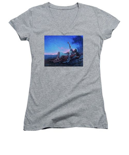 Women's V-Neck T-Shirt (Junior Cut) featuring the painting Just For A Moment by Greg Olsen