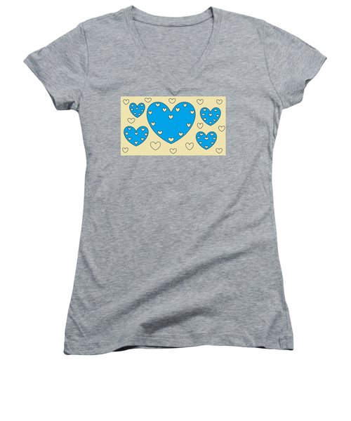 Just Hearts 4 Women's V-Neck T-Shirt (Junior Cut) by Linda Velasquez