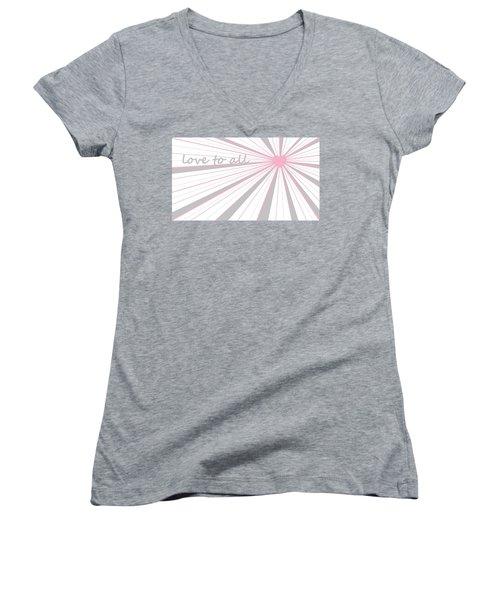 Just Hearts 5 Women's V-Neck T-Shirt (Junior Cut) by Linda Velasquez