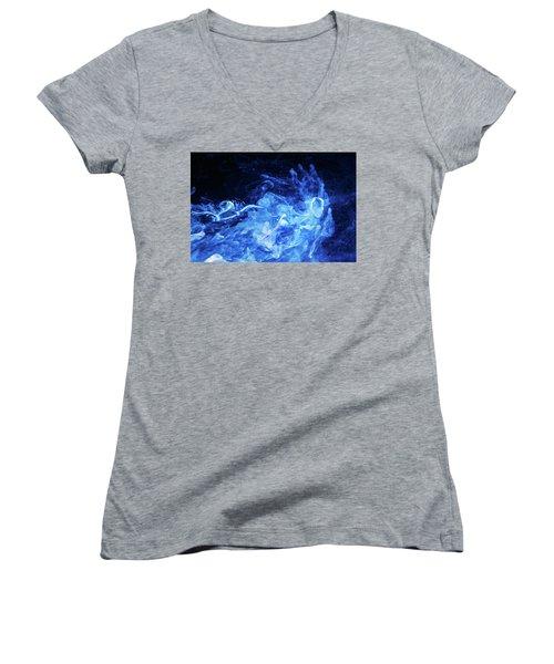 Just Passing By - Blue Art Photography Women's V-Neck T-Shirt (Junior Cut) by Modern Art Prints