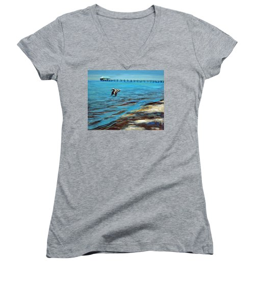 Women's V-Neck T-Shirt (Junior Cut) featuring the painting Just Passing By by Suzanne McKee