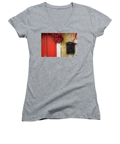 Women's V-Neck T-Shirt (Junior Cut) featuring the photograph Just Red by Yuri Santin
