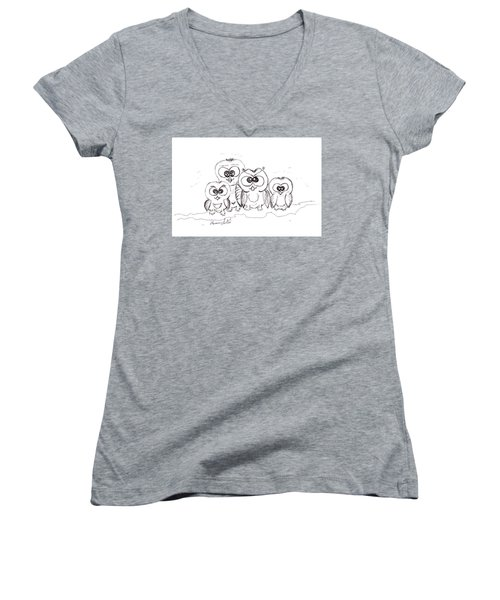 Just The Four Of Us Women's V-Neck T-Shirt (Junior Cut) by Ramona Matei