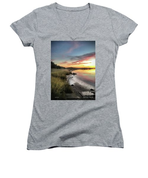 Just The Two Of Us At Sunset Women's V-Neck T-Shirt (Junior Cut) by Phil Mancuso