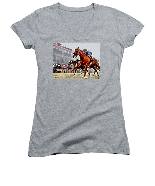 Justify Wins Preakness Women's V-Neck
