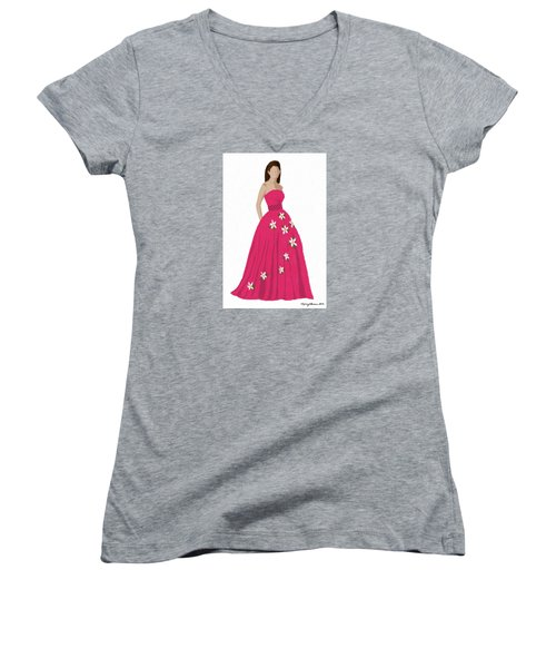 Women's V-Neck T-Shirt featuring the digital art Justine by Nancy Levan