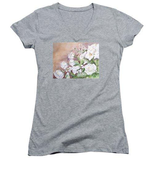 Justin's Flowers Women's V-Neck T-Shirt