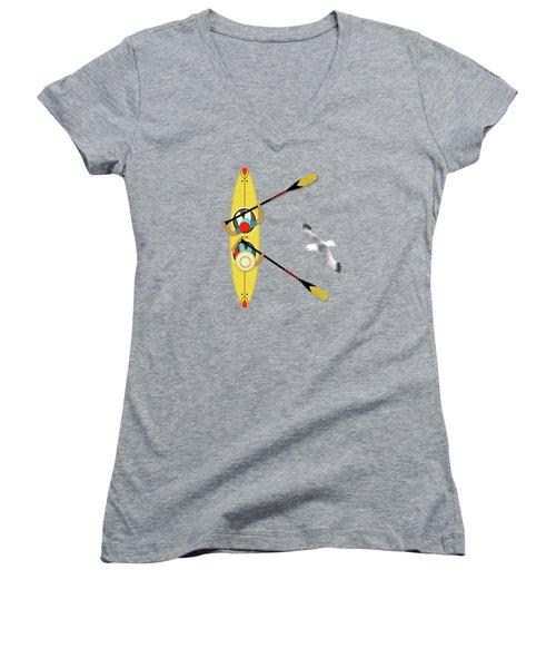 K Is For Kayak And Kittiwake Women's V-Neck T-Shirt (Junior Cut) by Valerie Drake Lesiak