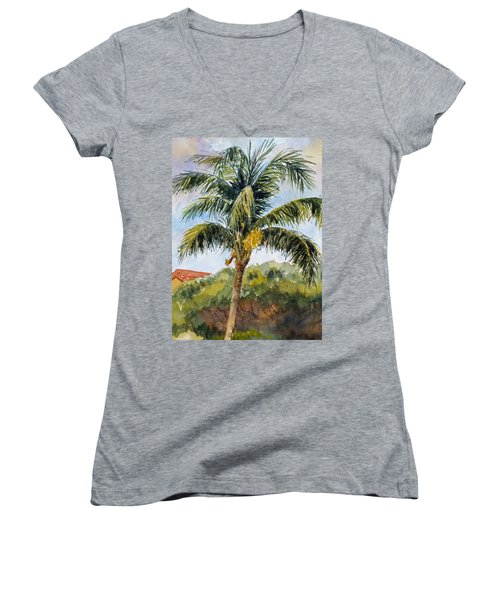 Kaanapali Palm Women's V-Neck T-Shirt (Junior Cut) by William Reed