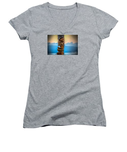 Ka'anapali Tiki Women's V-Neck T-Shirt (Junior Cut) by Kelly Wade