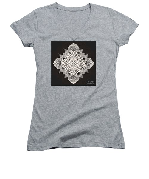 Women's V-Neck T-Shirt (Junior Cut) featuring the digital art Kal - 71c89 by Variance Collections