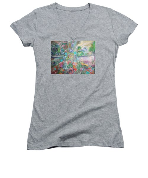 Kaleidoscope Fairies Too Women's V-Neck T-Shirt (Junior Cut) by Judith Desrosiers