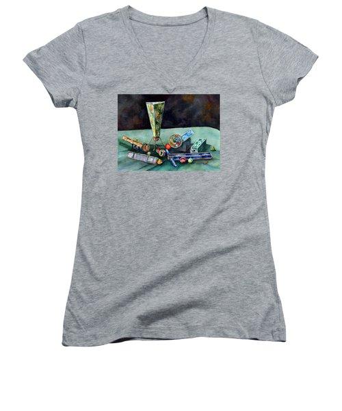 Kaleidoscopes Women's V-Neck T-Shirt (Junior Cut) by Sam Sidders