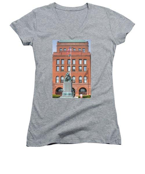 Kane County Courthouse Women's V-Neck T-Shirt (Junior Cut) by David Bearden