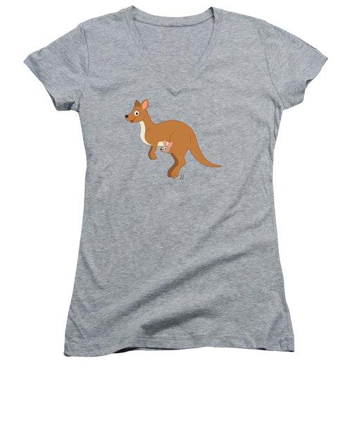 Mamma Kangaroo And Joey Women's V-Neck T-Shirt