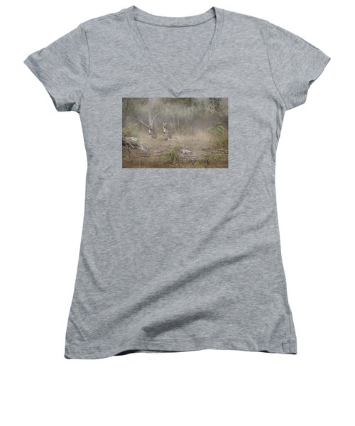 Kangaroos In The Mist Women's V-Neck T-Shirt (Junior Cut) by Az Jackson