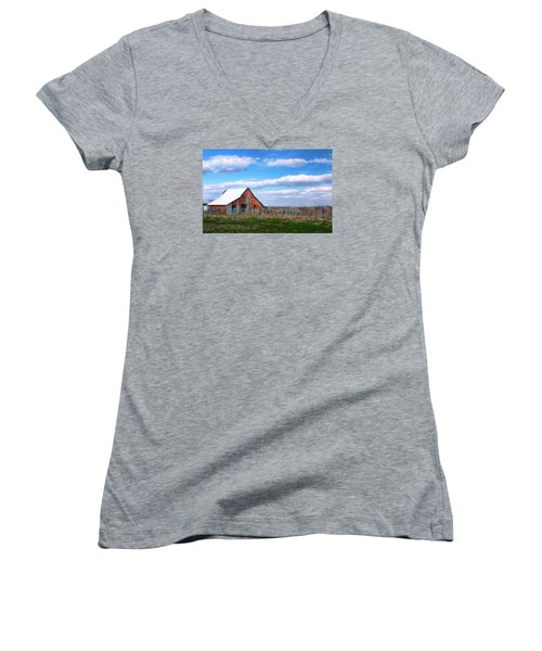 Women's V-Neck T-Shirt (Junior Cut) featuring the photograph Kansas Farm by Joan Bertucci