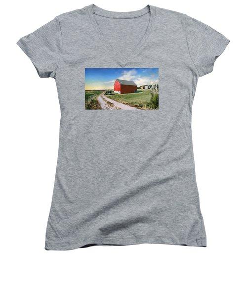Women's V-Neck T-Shirt (Junior Cut) featuring the photograph Kansas Landscape II by Steve Karol